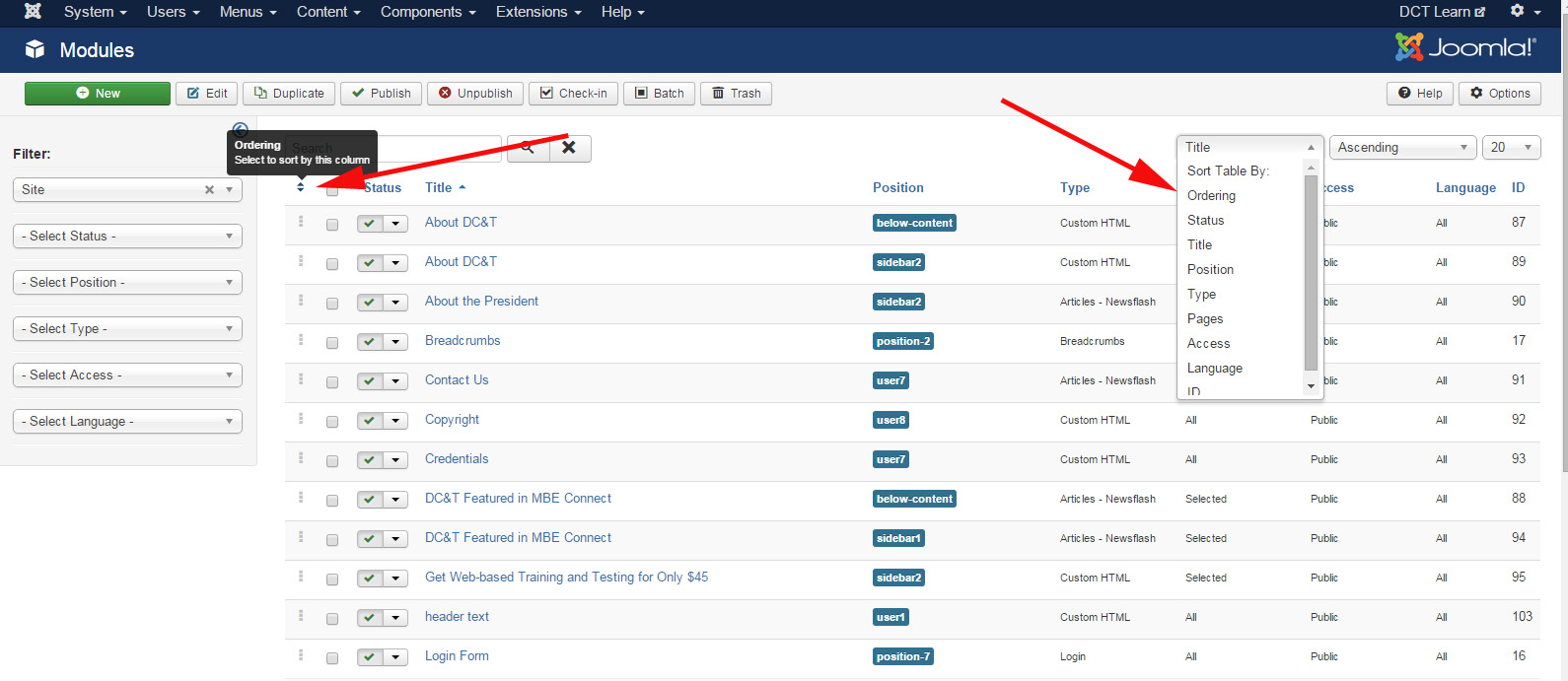 Joomla How to Change Order of Modules Step 1