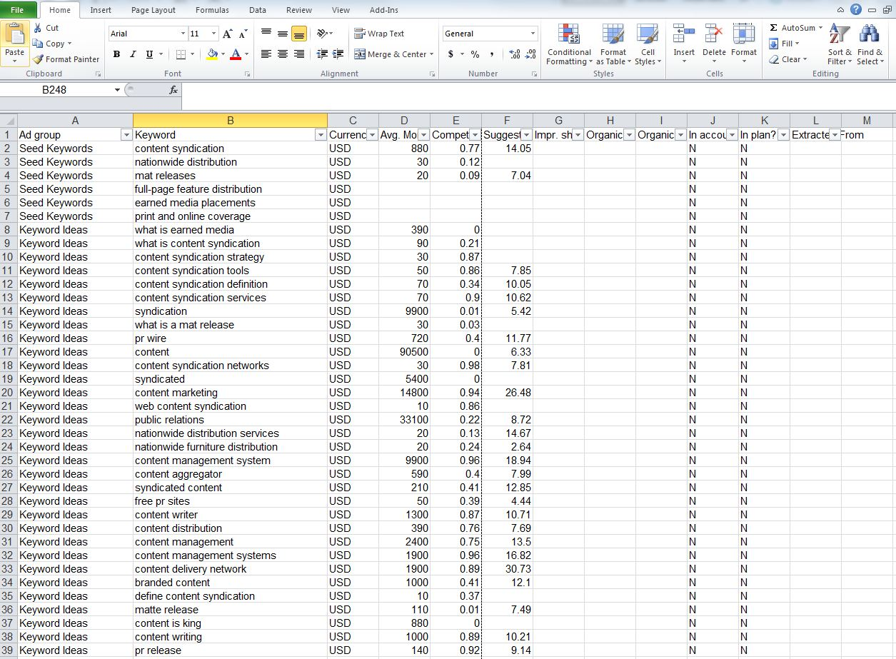Using Excel Filter