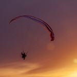 parachute in sunset free photo