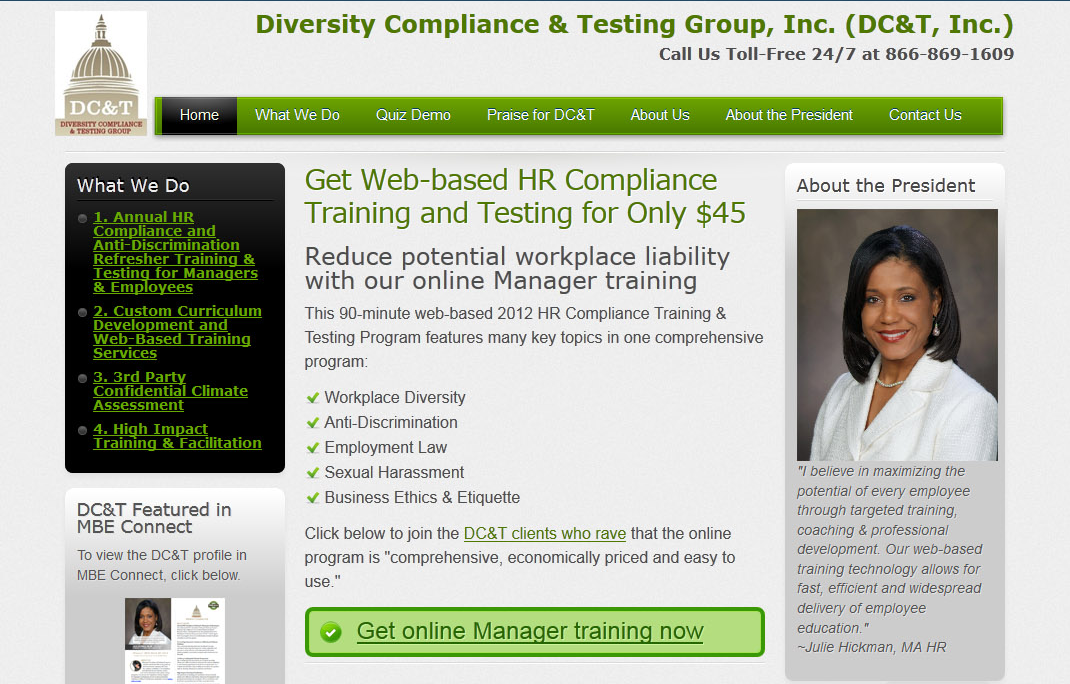 Diversity Training Web Site design