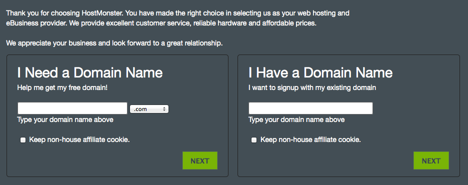 Getting a domain name at Hostmonster