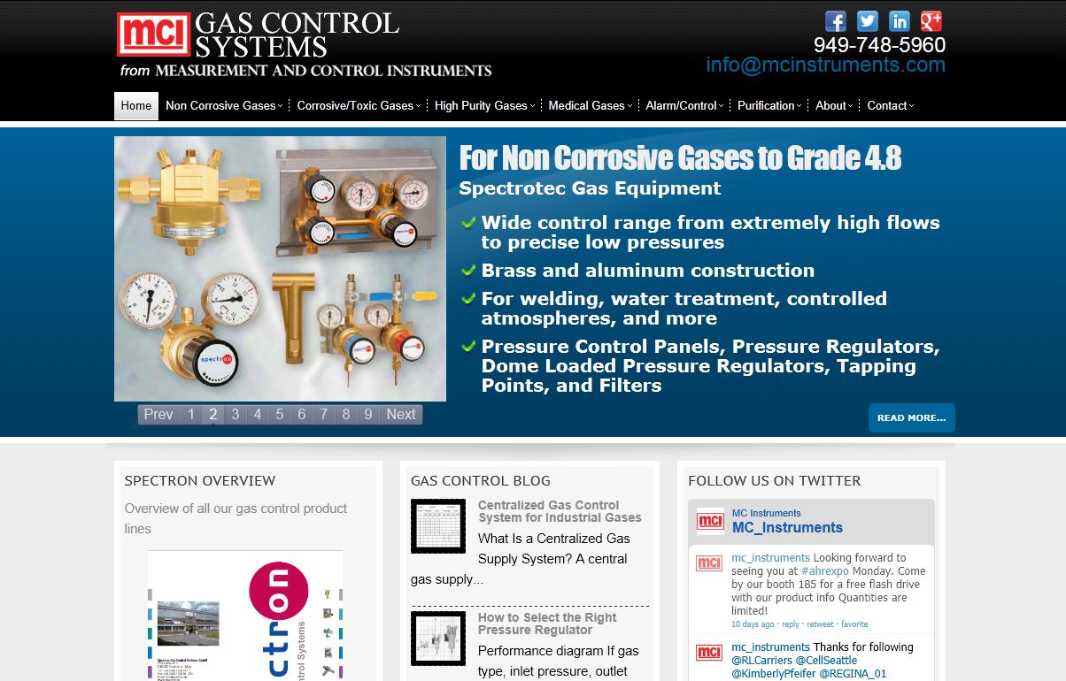 Gas Control Systems web site design