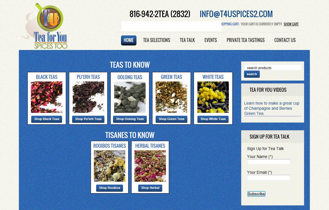 online tea shop website design